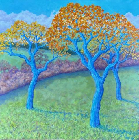 "Maeve Croghan ""Abbotsford Fall Pears, oil on canvas, 30"" x 30"""