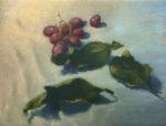"""Karen Wenger, Grapes & Leaves 2"""",  6"""" x 8"""", oil on canvas"""