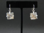 "1"" quartz earrings set in sterling silver"