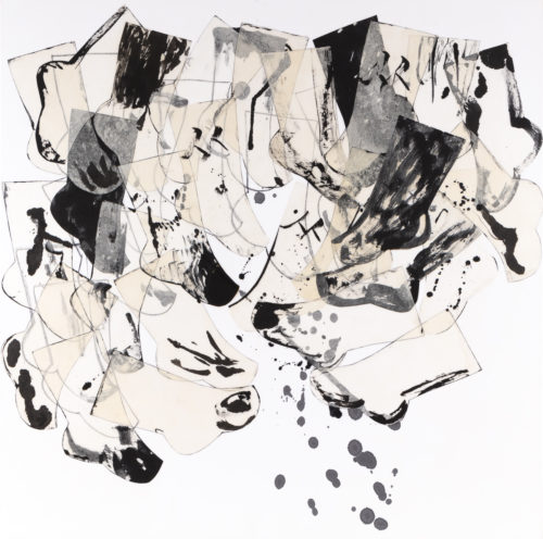 """Kay Kang """"The Journey II""""  Sumi ink on rice paper collaged and acrylic on canvas, 48"""" x 48"""" x 2"""", 2018 $6,500"""