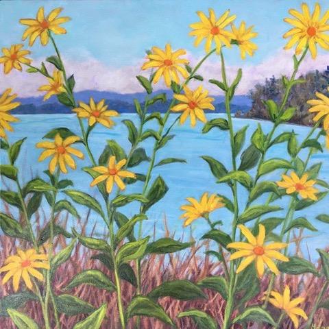 "Maeve Croghan ""  Northern Lake Beauties"" 20"" x 20""    Oil on canvas"