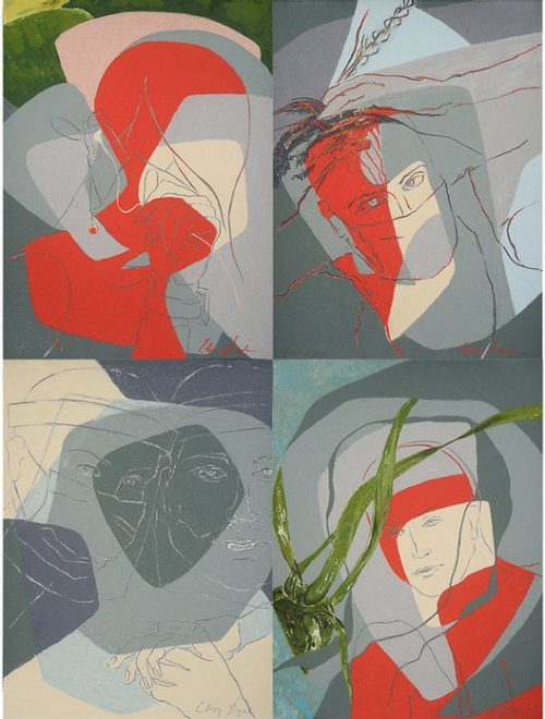 """Collage of 4 pieces which are going to be presented at the exhibition. media: drawing, soft pastel on paper, T24"""" x W18"""""""