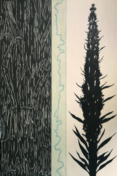 """Bob Armstrong """"Odell Creek (Centennial Vally, Montana)"""" 30 in. x 20 in. - Acrylic and Graphite on carved wood panel $2,400.00"""
