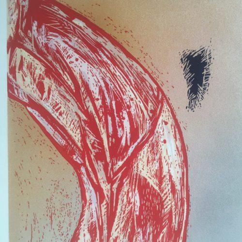 "James Gorman ""botanical fiction (bow red),"" silk screen, 12""x15"""
