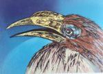 """James Gorman """"hornbill (blue),"""" silk screen, 11""""x15"""""""