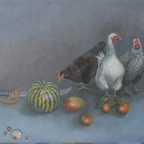Hens, Melon, Toy Sword and Buttons