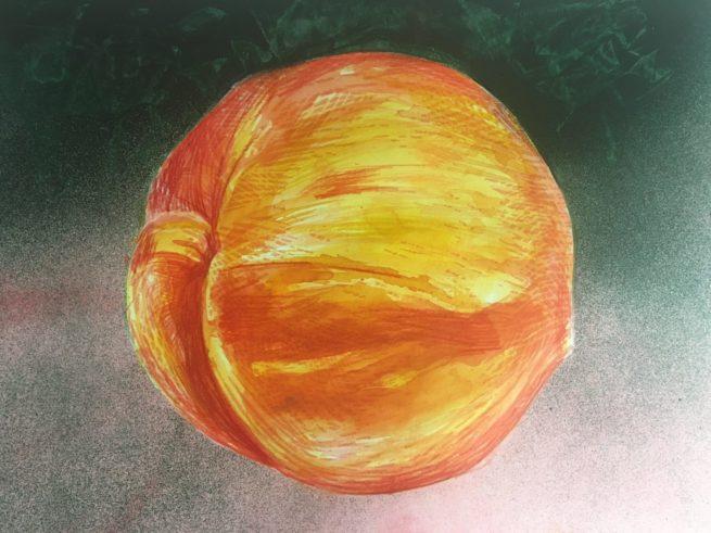 "James Gorman ""pretty peach (green),"" silk screen, 11""x14"""