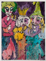 """Maria Mayr """"Musicians"""", 27"""" x 36"""", oil on coated paper"""