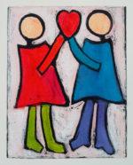"Maria Mayr ""The Heart Runners"", 16"" x 20"", monoprint"