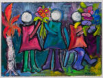 """Maria Mayr """"Happy Get-together"""", 30"""" x 22"""", oil on coated paper"""