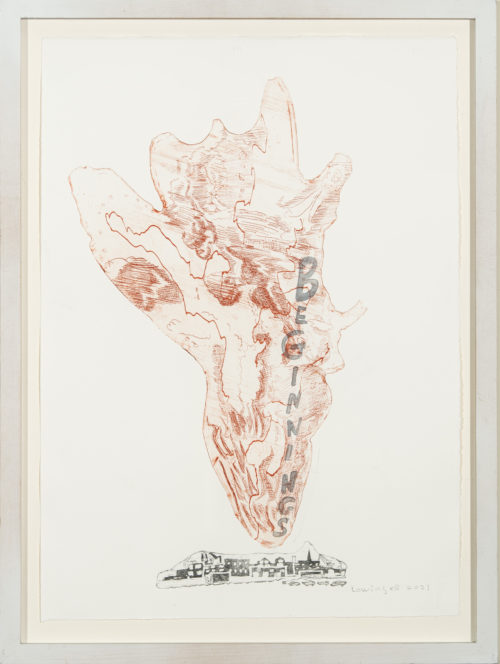"""Leslie Lowinger """"New Beginnings!"""" etching with  painted writing, framed, 17"""" x 24"""""""