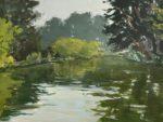"""Stow Lake Morning, gouache on paper, 2021, 6""""x8"""", framed"""