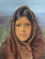 """Qahatika girl oil on canvas  9""""12"""" After photo by Edward Curtis"""