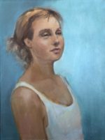 """oil on canvas 12""""/16"""" from live model"""