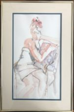 """Watercolor  Framed and matted: 16 1/4""""/25"""""""