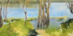 """""""Riverside"""", oil on linen, 2020, 18""""x36"""", framed"""