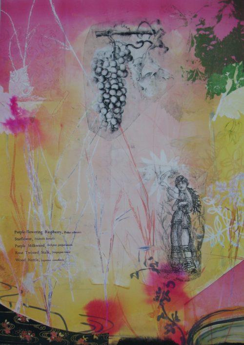 "Kathryn Kain Gideon Owen 26 x 20"" monotype, drawing transfer, collage"