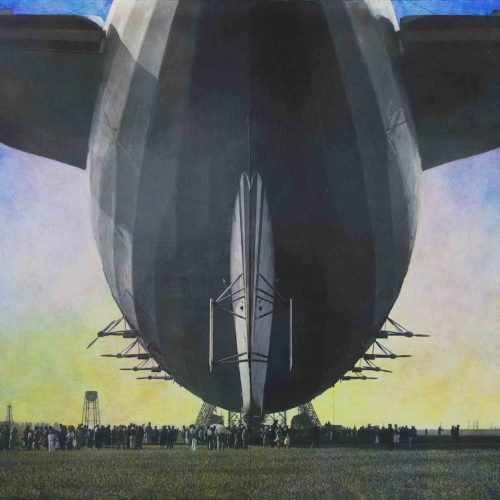 """USS Akron (Tail View) Sunnyvale, CA 1932 with Hangar One Under Construction Ink, pigment and acrylic on paper mounted to wood panels 87 x 171"""" (7 x 14' )  2015"""