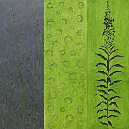 Fireweed - 30 in. x 30 in. - Mixed Media on Carved Wood Panel - Available
