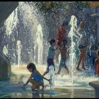 "Fountain 3 by Stanley Goldstein, oil on canvas, 24"" x 36"""
