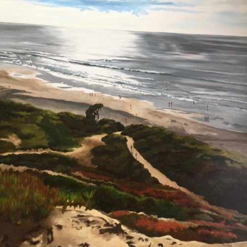 "Carol Banfield ""Fort Funston"". 36 x 48 x 1 1/2"", oil on canvas"